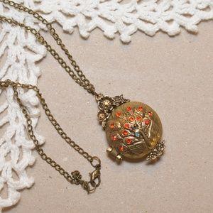 NEW Peacock Locket Necklace
